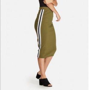 Missguided khaki side stripe midi skirt